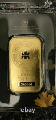 1 Ounce Royal Canadian Mint. 9999 Fine Gold Bar 1oz