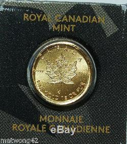 1 gram 50 cents GOLD MAPLE LEAF COIN CANADA. 9999 BULLION 2014 2016, or 2017