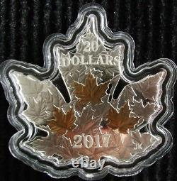 1 oz Silver Gilded Gold Maple Leaf Shaped Canada 2017 Coin $20