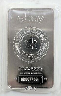 10 oz. 9999 Silver Royal Canadian Mint (RCM) eBay Bar Mint Sealed, No Returns
