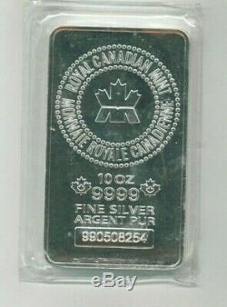 10 oz Royal Canadian Mint. 9999 Fine Silver Minted Bar in Seal FREE SHIPPING