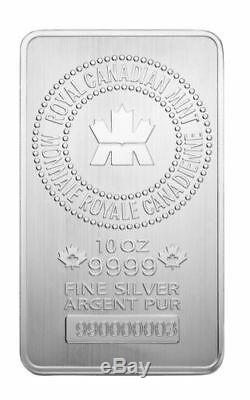 10oz Royal Canadian Mint 999 Pure Silver Bullion Bar