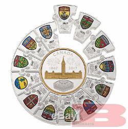 1867-2017 Puzzle Coin Canada150 Confederation $310 1/2-Kilo PureSilver Proof