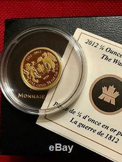 2012 Canada 1/4 oz Pure Gold'The War of 1812' $10 Coin Mintage 2,000 Box/COA