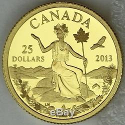 2013 $25 Canada An Allegory 1/4 oz. Pure Gold Coin Iconic Miss Canada