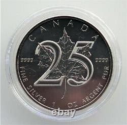 2013 Canada 25th Anniversary (. 9999) Silver Maple Leaf Coins (Cased Set)