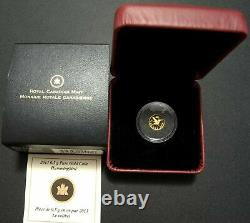 2013 Canada Hummingbird 25 Cents 0.5g PURE GOLD Proof Royal Canadian Mint Coin