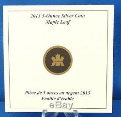 2013 Maple Leaf 5 oz. $50 Pure Silver Reverse Proof 25th Anniversary, ONLY 2,500