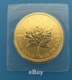 2014 1/2 oz 9999 Fine Gold Maple Leaf $20 Coin RCM Sealed