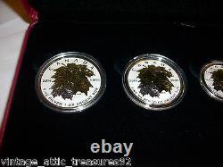 2014 ROYAL CANADIAN MINT SILVER MAPLE LEAF SET 5 COINS w GOLD LEAFS RARE & C. O. A