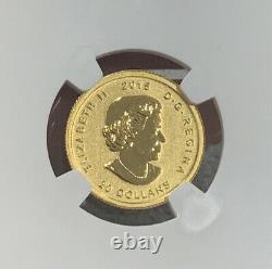 2015 Canada 1/10 oz. 99999 Fine Gold. Howling Wolf FDI. NGC Graded MS70