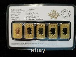 2016 $25.9999 Gold 1/10th Bars ROYAL CANADIAN MINT 5 Bars 1/2oz Total SEALED