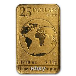 2016 $25 Royal Canadian Mint Gold Bar 1/10 ozt