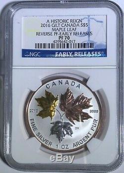 2016 $5 Canada Silver Maple Leaf Gilt Ngc Pf70 Er Ucam Reverse Proof 1 Oz. 9999