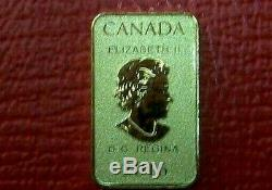 2016 CANADA GOLD 1/10 oz. 9999 FINE $25 BAR from ROYAL CANADIAN MINT