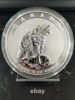 2017 $50 Canada Silver Grizzly Bear Silver Round 10 oz. 9999