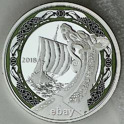 2018 $20 Viking Ships Northern Fury 1 oz. 99.99% Pure Silver Color Proof