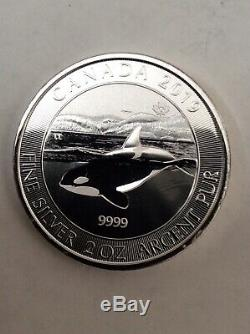 2019 2 Oz. Canadian Orca Whale $10.9999 Silver Coin