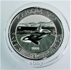 2019 2 oz. 999 Silver ORCA Canadian BU coin in direct fit Capsule