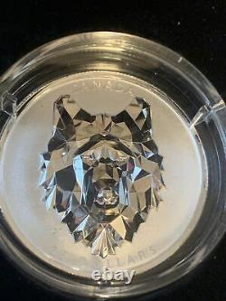 2019 $25 Canada Silver Wolf Multifaceted Coin With Certificate and Mint Box