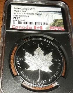 2020 Canada Silver Maple Leaf Incuse Black Rhodium 1 oz $20 Proof NGC PF70 FR