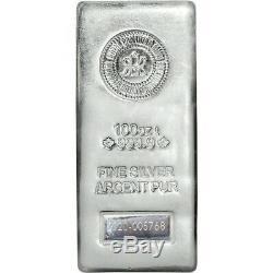 2020 Royal Canadian Mint RCM 100 oz Silver Bar. 9999 Fine Silver Shipping 8/17