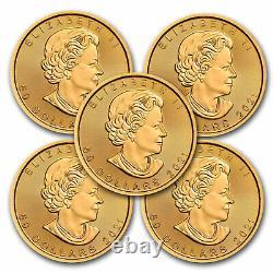 2021 Canada 1 oz Gold Maple Leaf BU Lot of 5 Coins