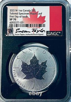 2021 W $5 Canada Tailored Specimen Burnished Maple Leaf NGC SP70 Taylor Signed