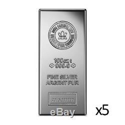 5 x 100 oz Silver Bar Royal Canadian Mint