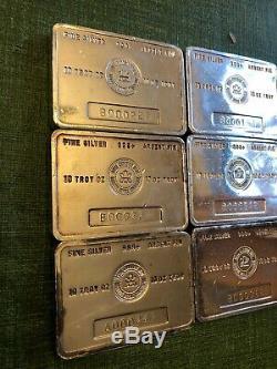 6 Vintage RCM Royal Canadian Mint 10 oz Silver Bars