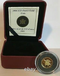 CANADA 2004 GOLD 1/25 oz COIN, THE MOOSE WITH BOX & COA NO OUTER SLEEVE