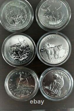CANADA 2011/12/13 Silver Maple Leaf Wildlife Series 99.99% Pure 1 oz x6