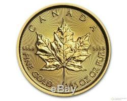 Canada 1/10 oz. 9999 Gold Maple Leaf Elizabeth II 5 Dollars BU Sealed round coin