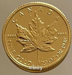 Canada 1Dollars 2012 Canadian Maple Leaf 1/20 oz Gold. 9999 BU+