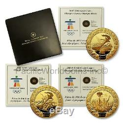 Canada 2007-2009 Vancouver Olympic games 3pc Gold Coins set with Box & COA S7705