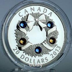 Canada 2013 Holiday Wreath 1 oz Pure Silver $20 Proof Coin, 5 Swarovski Crystals