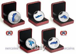 Canada 2014-2015 Great Lakes Enamel $20 Pure Silver Coin Full Set of 5 Perfect