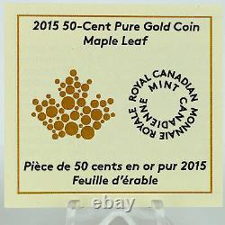 Canada 2015 Maple Leaf with Canada Flag 1/25 oz. Pure Gold Proof Coin