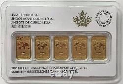 Canada 2016 Legal Tender $25 5pc 1/10 oz Gold Bar Royal Canadian Mint. 9999