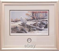 Doug Laird Snowy Owl Limited Edition and Royal Canadian Mint Coin Framed
