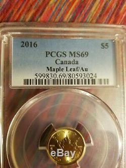 GOLD 2016 $5 CANADA MAPLE LEAF MS69 1/10 oz. Fine BU PCGS Cert Insured