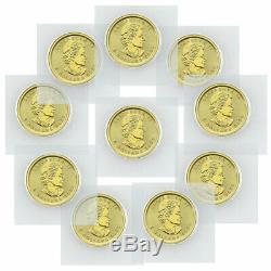 Lot of 10 2020 Canada 1/10 oz Gold Maple Leaf $5 Coins GEM BU SKU60075