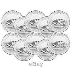 Lot of 10 x 1.5 oz 2013 Canadian Polar Bear Silver Coin