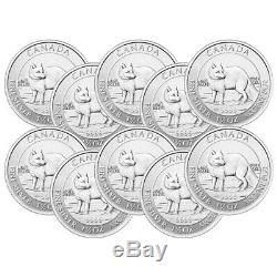 Lot of 10 x 1.5 oz 2014 Canadian Arctic Fox Silver Coin