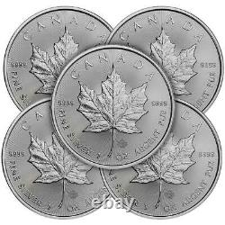 Lot of 5 2021 $5 Silver Canadian Maple Leaf 1 oz Brilliant Uncirculated