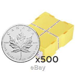 Lot of 500 x 1 oz Random Year Canadian Maple Leaf Silver Coin