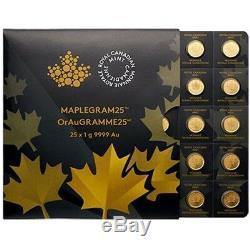 Maplegram Gold 2019 Maple Coins RCM 25 x 1 g Gold Sheet Royal Canadian Mint