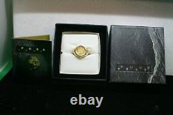 Men's 18K Yellow Gold Ring With Canadian Maple Leaf 1/10 Oz. Coin Size 9 1/2