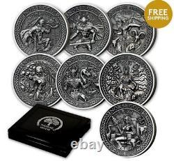 Norse Gods 2 oz. Fine Silver 9-Coin set, Cook Islands