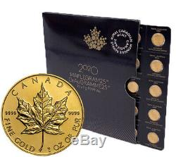 One (1) 2020 MapleGram. 9999 Gold 50 Cent Maple Leaf RCM Coin In Assay